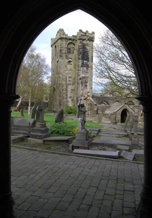 Old Church of St Thomas à Becket, viewed from the porch of the new Church of St Thomas the Apostle, Heptonstall, West Yorkshire