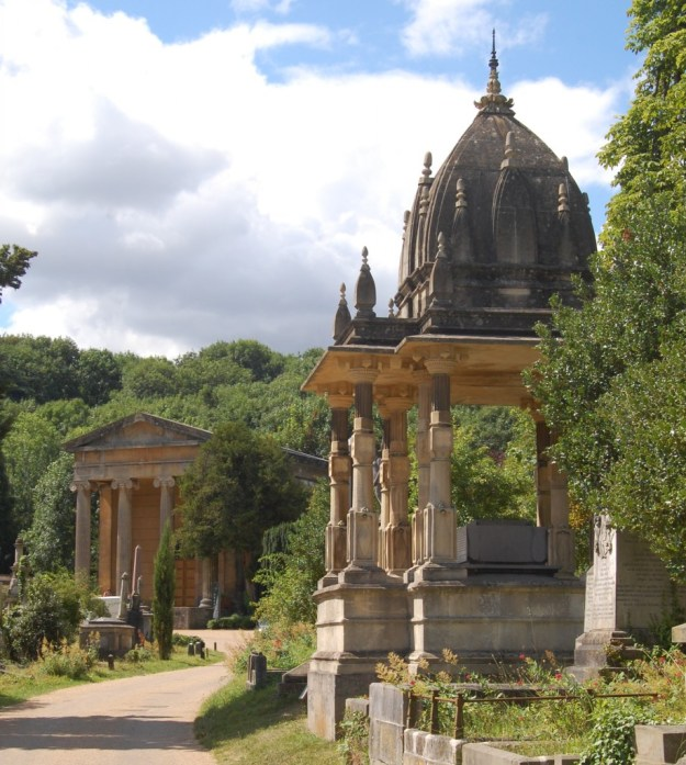 Arnos Vale Cemetery, Bristol:  Nonconformist chapel and the chhatri of Raja Rammohun Roy (1772?–1833)