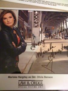 """Mariska Hargitay - it says """"To Mike Happy Birthday"""""""