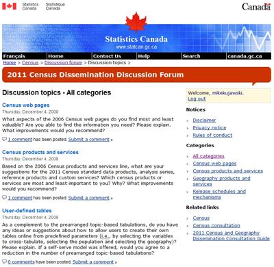 Statistics Canada Census Discussion Forum