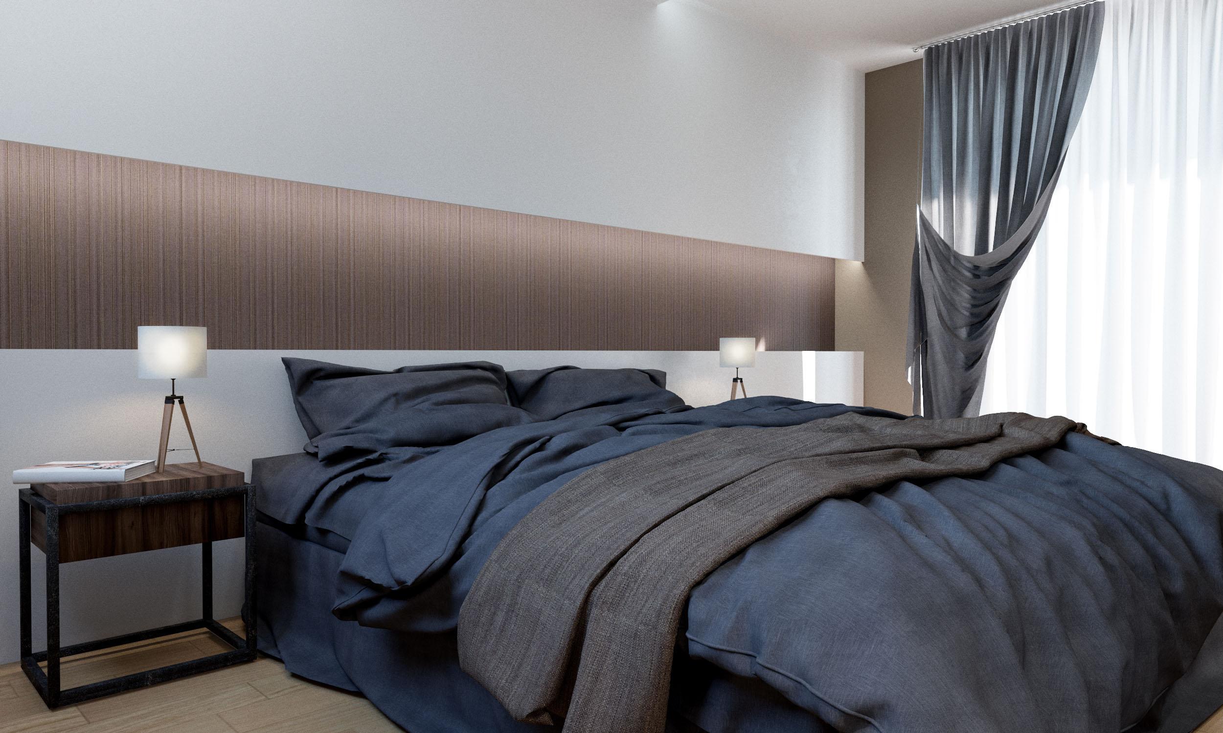 Render 3D arquitectura dúplex Donostia habitación principal 2