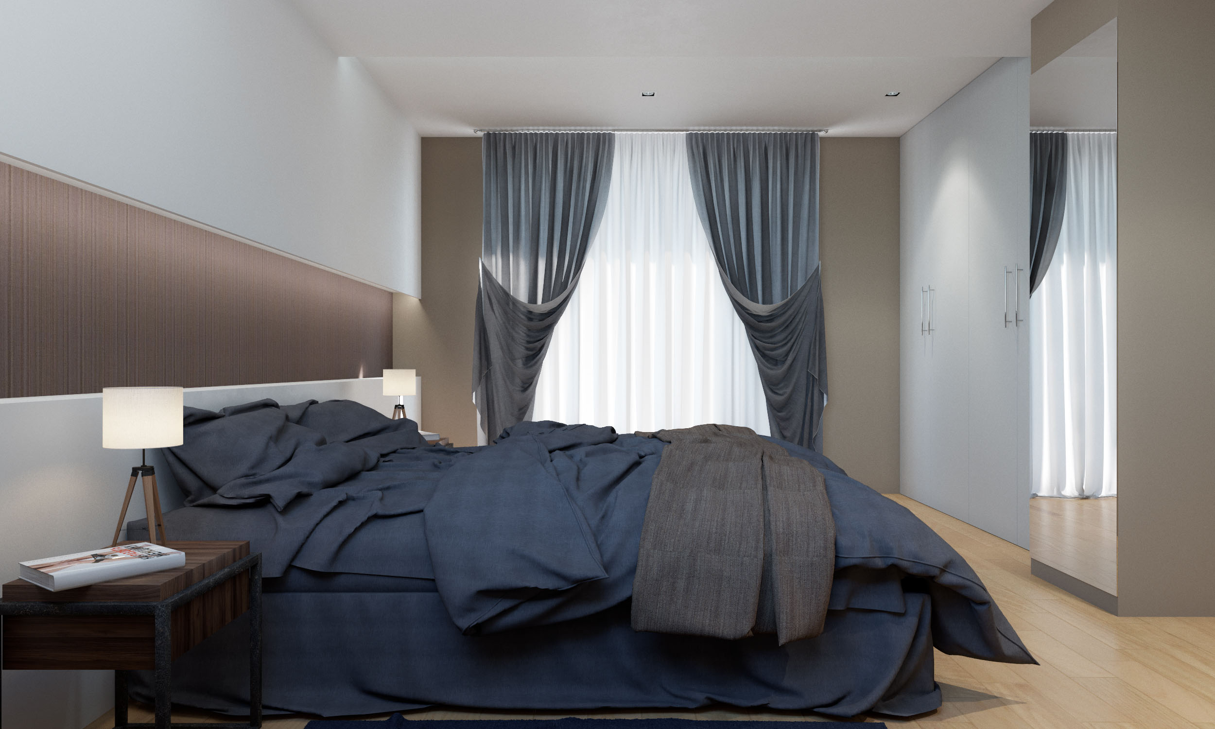 Render 3D arquitectura dúplex Donostia habitación principal