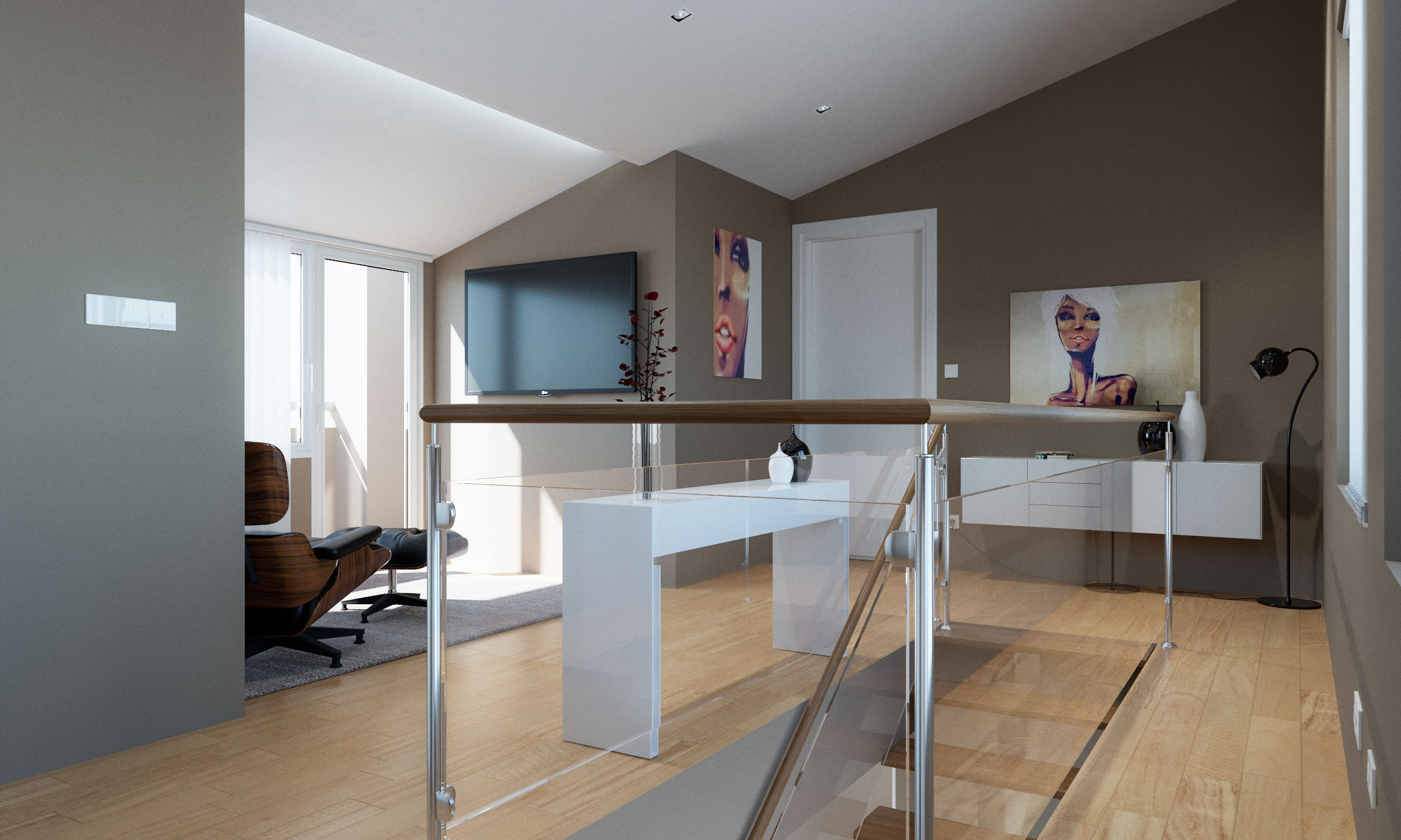 Render 3D arquitectura dúplex Donostia detalle hall piso superior