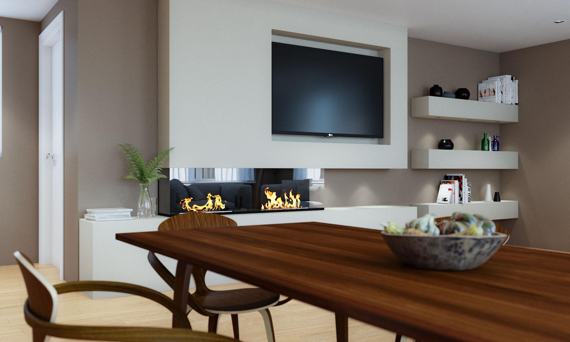 Render 3D arquitectura dúplex Donostia detalle salón comedor 2