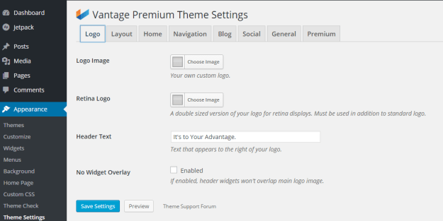Vantage Theme Header Text Settings