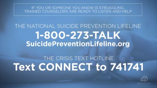 Call 1-800-273-TALK - Suicide Prevention Lifeline