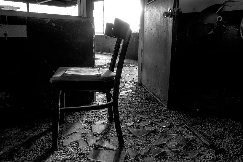 Chair and Notebook from the Dog Track