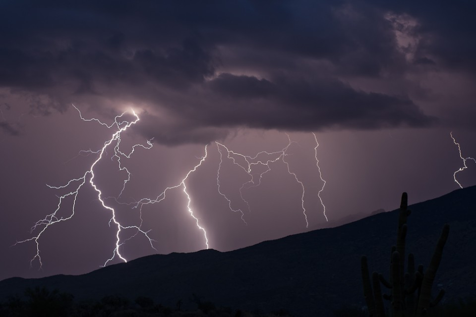 Lightning over the Catalinas