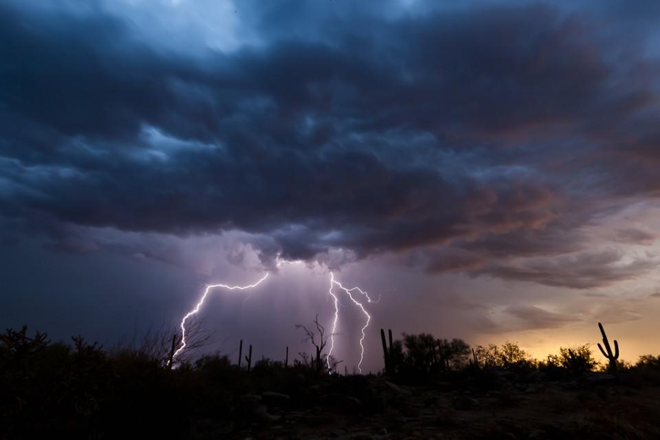 Lightning Sunset in Tucson