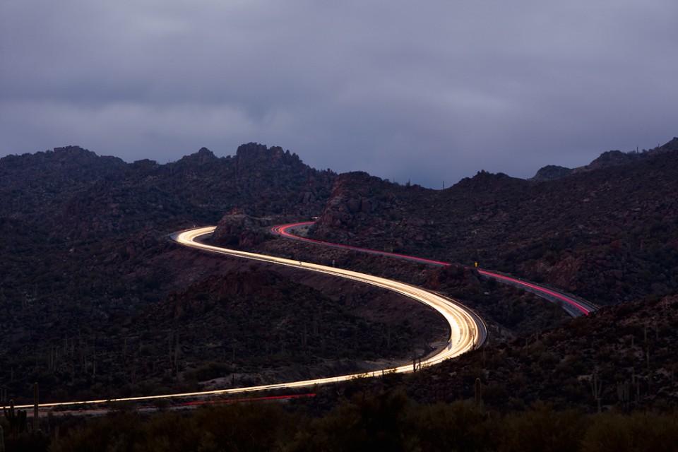 The Beeline Curve light trails Arizona