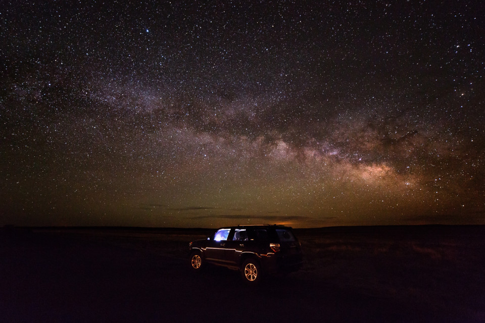On the way to a two-day storm chase in the plains, I stopped for a few hours sleep north of Las Vegas, New Mexico. The Milky Way was in full display and I had to capture a picture of Vera with the stars blazing behind her!