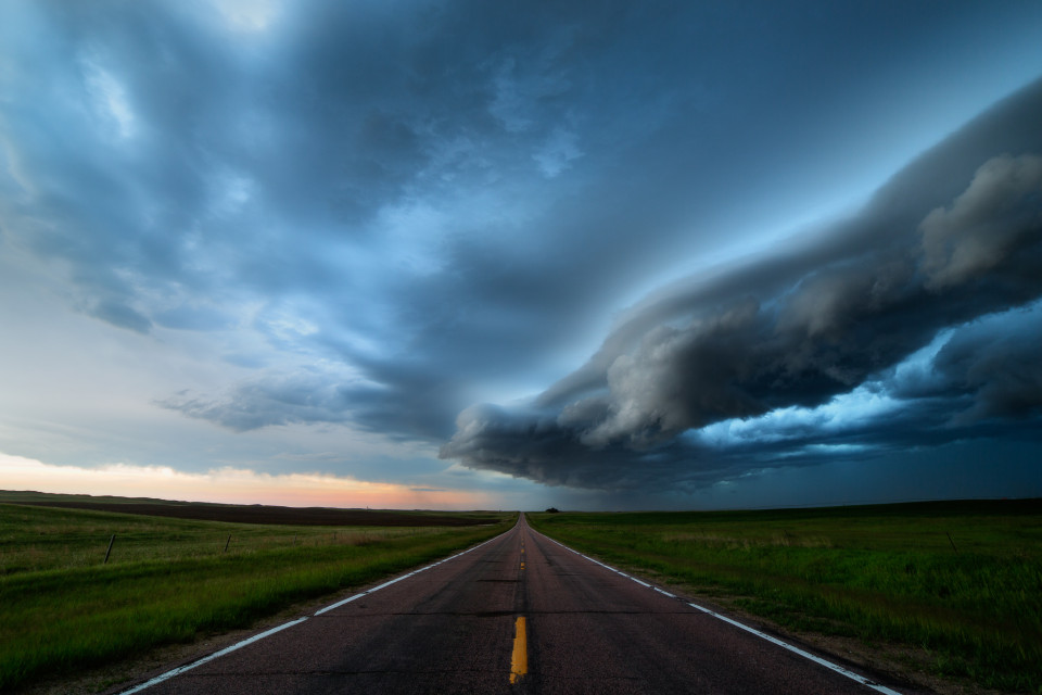 A ragged shelf cloud rolls across western Nebraska on June 2nd, bringing heavy rain behind it.