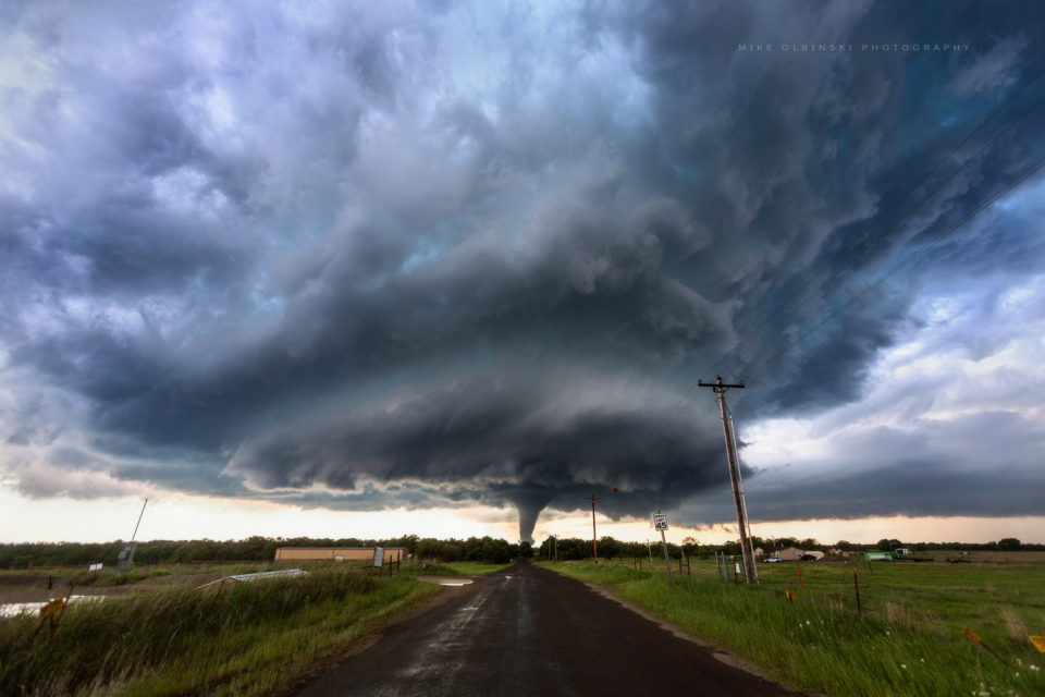 A powerful, EF3 tornado spins through the small rural community of Katie, Oklahoma on May 9th, 2016.
