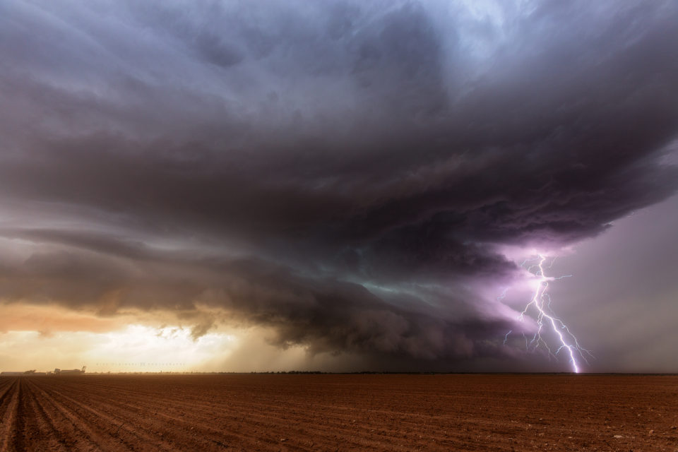 A lighting bolt pierces the cloud decks as it slams into the ground southeast of Lamesa, Texas on May 31st, 2016