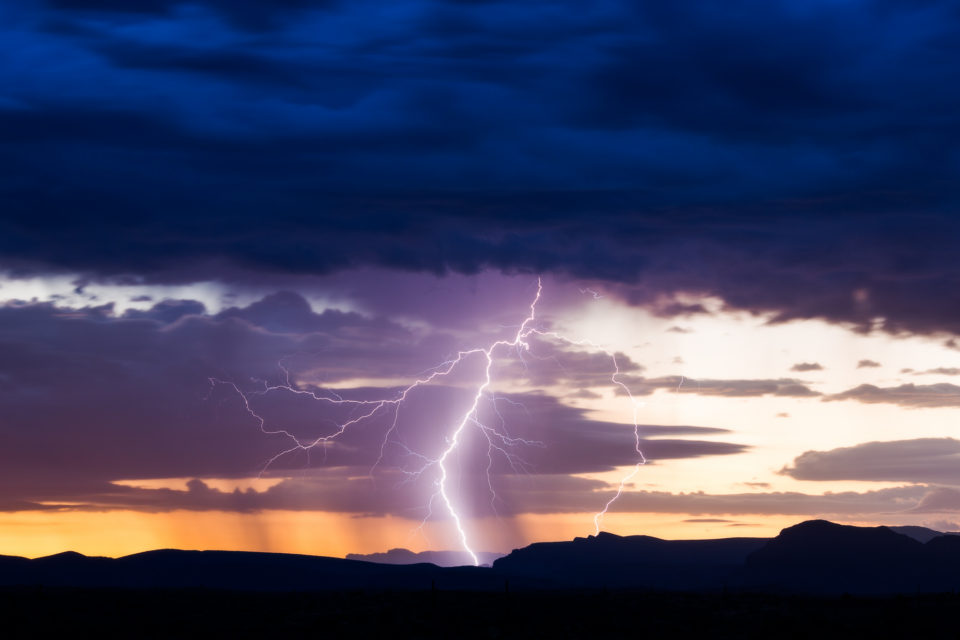 Nothing more beautiful than lightning against a sunrise or sunset. Awesome morning out near the Four Peaks