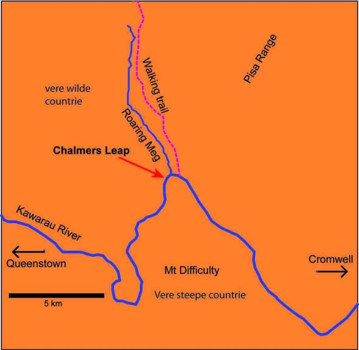 Map showing location of 'Chalmers Leap' (the stone bridge) over the Kawarau River, Central Otago.