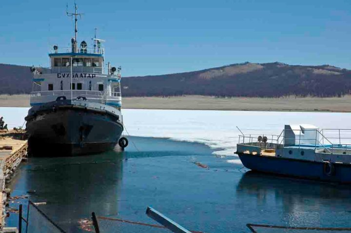 Mongolia's only large boats, on a still mostly frozen Lake Khovsgol in late May.