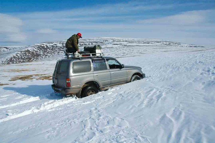Mongolia - stuck in a snow drift.