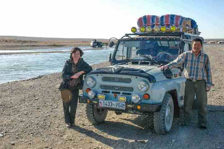 Our fully-laden Russian Jeep, about to make a routine crossing of a river. But rivers always change - will this time be like the last?