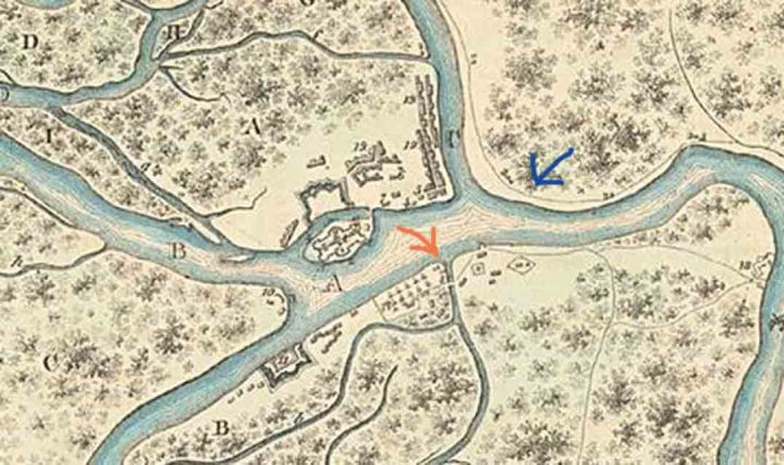 A 1705 map of St Petersburg. Was Peter the Greats log cabin once at the location shown by the red arrow? Its present location is shown by the blue arrow.