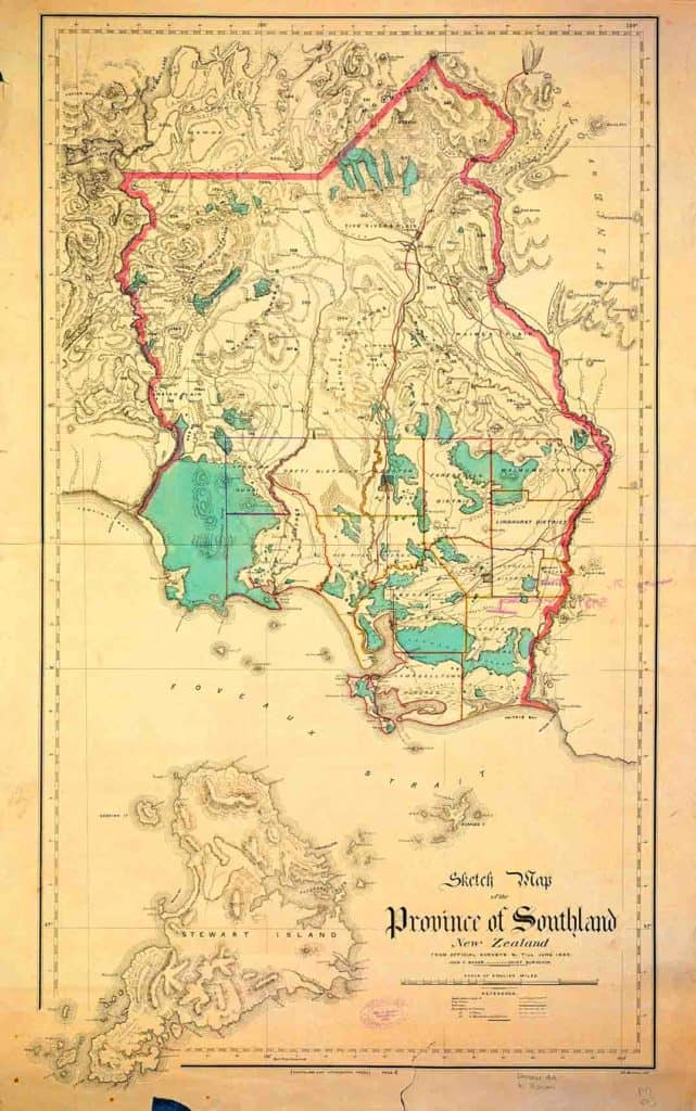 'Sketch Map of the Province of Southland' compiled by the Chief Surveyor, John H. Baker, up to 1865. There is from a digital copy of this map on the Auckland Council Libraries website ('Sir George Grey Special Collections, Auckland Libraries, NZ Map 3817'). It shows patches of forest (blue-green) where almost none remain today.