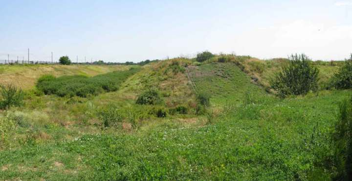 The remains of the moat around the ancient city of Tanais, South Russia.