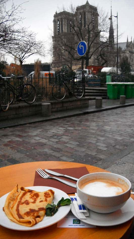Breakfast in Paris. Yes, you can do it in front of Notre Dame.
