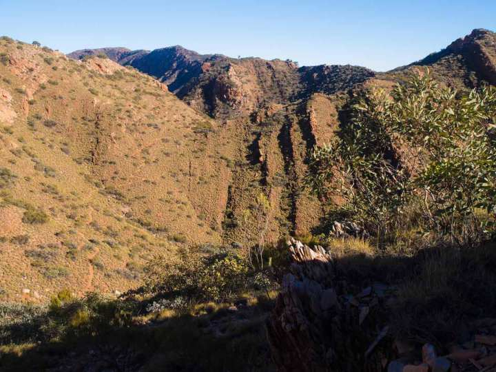 Can you see the Larapinta? Descending off the east end of Brinkley Bluff heading for Standley Gorge.
