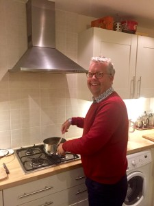 Dave, cooking us a Thai chicken curry for supper