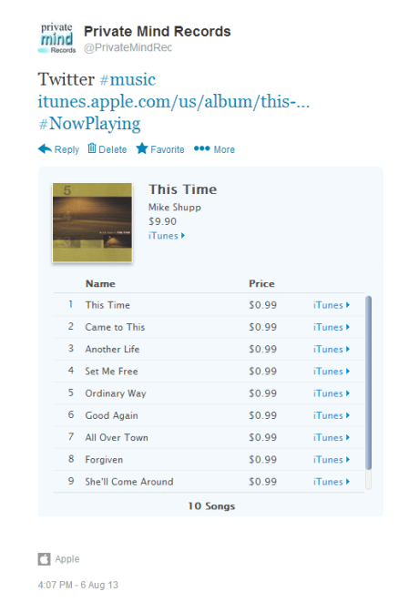 iTunes Album Preview In Expanded Tweet