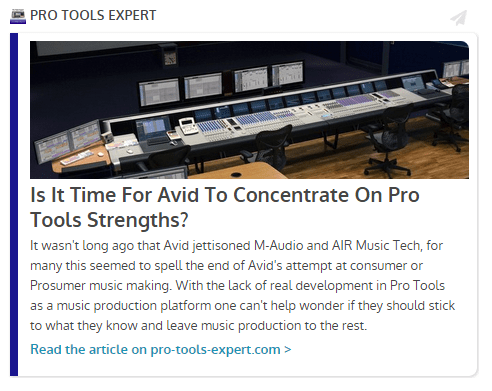 From Pro Tools Expert: Is It Time For Avid To Concentrate On Pro Tools Strengths?