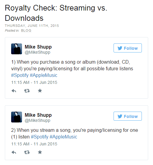 Royalty Check: Streaming vs. Downloads