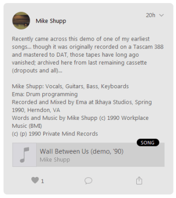 "Screen Clip on Apple Music Connect ""Wall Between Us (demo, '90)"""