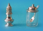 Miniature silver caster and preserve / marmalade jar
