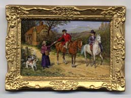 miniatture painting 0222 Pair of Horse Riders greeting a Passer by