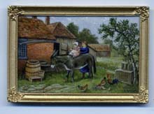 miniature painting 0224 Farmyard Scene with a Child on a Donkey