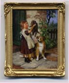 miniature painting 0225 Farm Girl holding a Puppy
