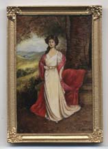 Miniature painting 0218 Portrait of a Lady in a White Dress and a Red Cloak