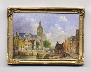 miniature painting 0002 Flemish scene with large Church