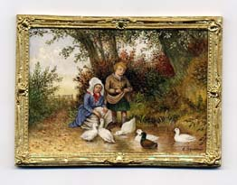 miniature painting 0005 Children at Duck Pond