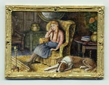 Miniature painting 0088 Girl and Dog Sitting by Fireside