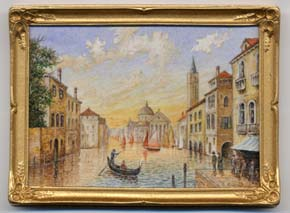 miniature painting 0098 Venetian Scene with a Gondola