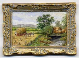 Miniture painting 0122 Country Scene haymaking next to a River