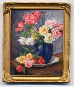 miniature painting 0127 Still Life with Roses and a Blue vase