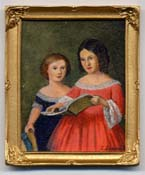 Miniature painting 0140 Two Girls Reading