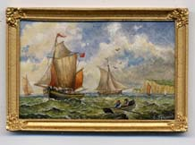 miniature painting 0157 Seascape with Sailing Ships and a Dinghy
