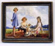 miniture painting 0163 Three Young Ladies and a Dog