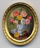 miniature painting 0165 Roses in a Blue & White Vase