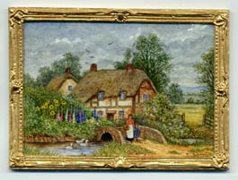 miniature painting 0166 Rural scene with a Thatched Cottage and a Bridge