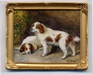 Miniature painting 0173 Pair Brown and White Dogs